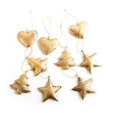 3 X 3 Weihnachten Weihnachtsanhänger Gold Baum Stern Herz Blech Metall 5 Cm Christbaumschmuck