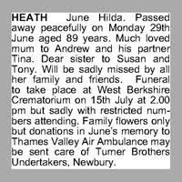June Heath Obituary - Death Notice and Service Information