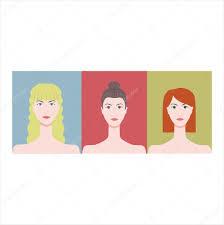 Blondýnka Bruneta Zrzka Tváře žen Blond Vlasy Modré Glp Stock