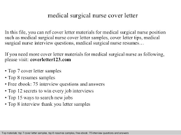medical job cover letter medical surgical nurse cover letter