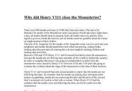 why did henry viii close the monasteries a level history  document image preview