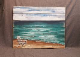 zoom on pallet wall art shabby chic with wood pallet beach wall art beach hand painted seascape