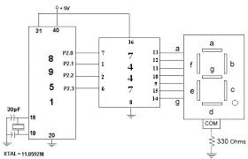 interfacing segment display using decoder com circuit diagram for common cathode 7 segment display