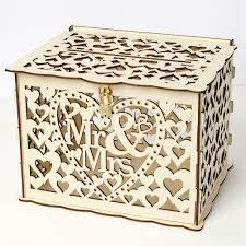 diy wedding gift card box wooden hollow money box with lock kit wedding decor 12 12 of 12 see more
