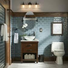 Rustic And Modern Bathroom Blue Grey Glass Tiles Bathroom - Glass tile bathrooms