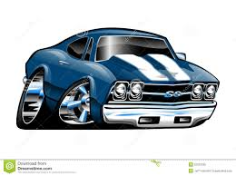 Chevelle Ss Cartoon Chevy Lots Chrome Low Profile Blue White