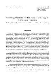 vanishing theorems for the basic cohomology of riemannian  vanishing theorems for the basic cohomology of riemannian foliations journal fur die reine und angewandte mathematik crelles journal