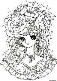 Coloriage Coloring Adult Back To Childhood Manga Girl Flowers Dessin