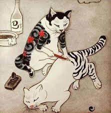 Cat Tattoo By Kazuaki Horitomo Kitamura Japanese Painting Kresby