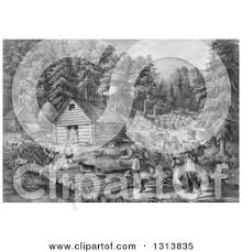 pioneer family clipart. historical grayscale lithograph scene of pioneer hunters and dogs approaching a western frontier home family by stream clipart h