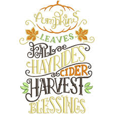 Pumpkin Leaves Fall Hayrides Cider Harvest Blessings Thanksgiving Filled Machine Embroidery Design Digitized Pattern
