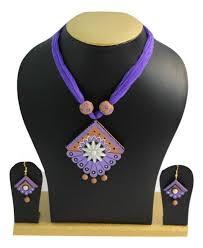 handmade traditional purple terracotta jewellery necklace earring set
