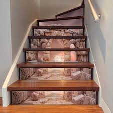 Stairway Wallpaper Design 3d Diy Retro Style Tile Stairs Stickers Removable Waterproof Wallpaper Stickers Self Adhesive Stair Riser For Home Decor