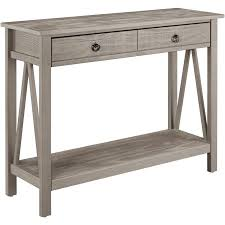 Linon Titian Console Table, Rustic Gray, 2 Drawers