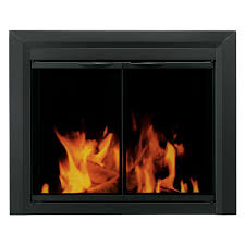 pleasant hearth carlisle cabinet fireplace screen and smoked glass doors black com