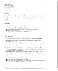 Resume Templates: Vehicle Fleet Manager