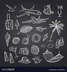 Summer Travel Elements On Black Chalkboard