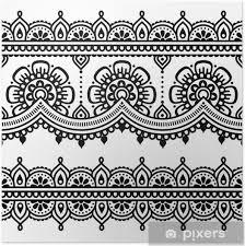 Plakát Mehndi Indický Henna Tetování Bezešvé Vzor
