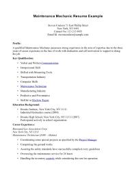 Industrial Maintenance Mechanic Sample Resume Maintenance Mechanic Resume Example High School Template No Work 65