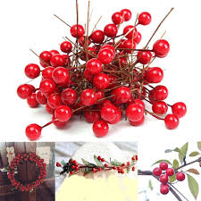 100Pcs Mini <b>Berry</b> Manmade Red Holly <b>Berries</b> 10mm Home ...