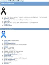 Awareness Ribbon Color Meanings Pdf Free Download