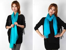 Image result for Turquoise blue thin silk scarf