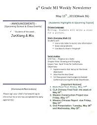 School Newsletter Templates 4th Grade Template For Ms Word