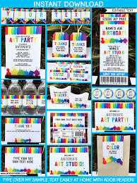 art birthday party theme printables invitations and decorations paint party diy editable templates
