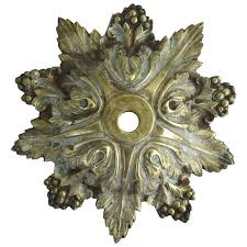 vintage brass chandelier ceiling canopy with acanthus leaf and berry motif