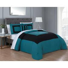 avondale manor carson 8 piece teal and black queen comforter set