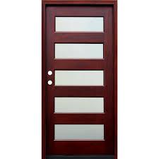 door. Pacific Entries 36 In. X 80 Contemporary 5 Lite Mist Stained Mahogany Door