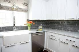 white kitchen cabinets with gray subway tile backsplash countertops ideas for and quartz white cabinets