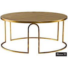 Uttermost gold henzler coffee table on sale with regard to favorite glass gold coffee tables view photo 2 of 20. Erica Cream Leather And Iron Round Cocktail Table 8j517 Lamps Plus Gold Coffee Table Luxury Coffee Table Coffee Table