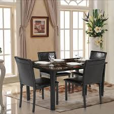 Ikayaa 5pcs Ensemble Table Chaise En Marbre De Cuisine Salle à