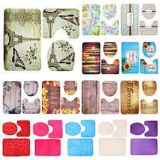 3 piece ocean styles bathroom rug set bath mat contour toilet lid cover set kit