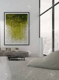 Paintings Living Room Modern Living Room Interior With Green Paintings On Wall Stock