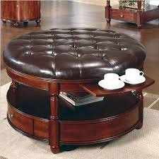 round coffee table ottoman round leather ottoman coffee table view larger simpli home avalon coffee table