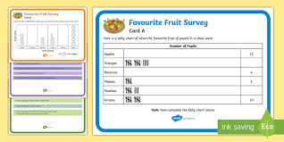 Favourite Fruits Survey Tally And Pictogram Maths Challenge
