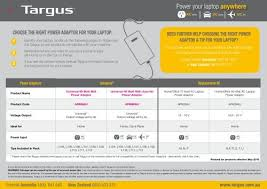 Targus Charger Compatibility Chart Power Your Laptop Anywhere Targus