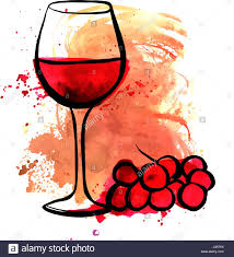 1269x1390 vector drawing of red wine glass on watercolor texture stock