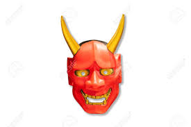 japanese for mask traditional japanese red devil mask kabuki mask on white background