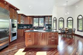 Kitchen Paneling Kitchen In Luxury Home With Cherry Wood Paneling Stock Photo