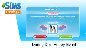 Fashion Design Hobby Sims Freeplay Daring Dos Hobby Event The Sims Freeplay