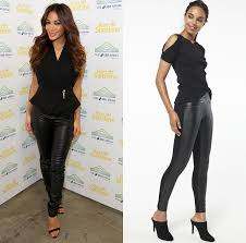 leather look leggings are the perfect starting point for any night out style formula and an all black outfit like nicole scherzinger s has maximum impact