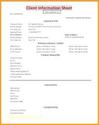 Printable Customer Information Form Customer Information Form Template Free New Client