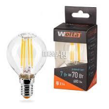 <b>Лампочка Wolta</b> LED G45/<b>7W</b>/4000K/E14 <b>25S45GLFT7E14</b>