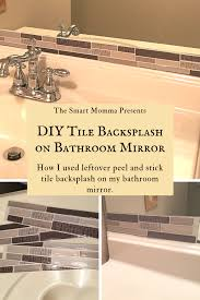 diy tile backsplash on a bathroom mirror