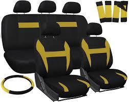 car seat covers for kia soul yellow black 17pc steering wheel belt pad head rest