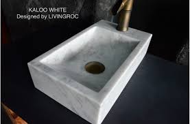 16 white marble stone wash hands sink restroom kaloo white
