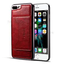 leather coated plated tpu card holder phone shell with kickstand for iphone 8 plus 7